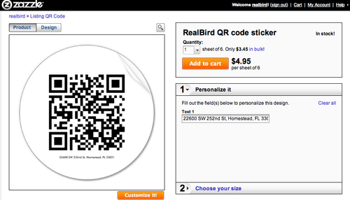 Zazzle QR real estate sticker