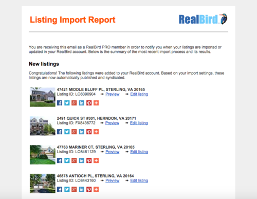 RealBird Listing Import Report Screenshot