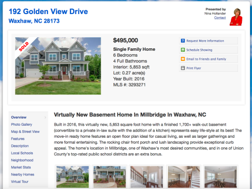 Sold Listing Site Example